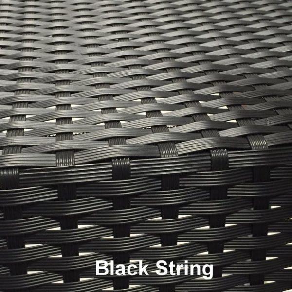 Kunststof wicker in kleur black string