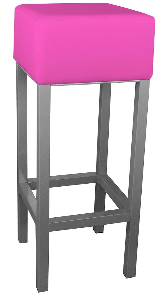RVS barkruk met roze kunstlederen zitting