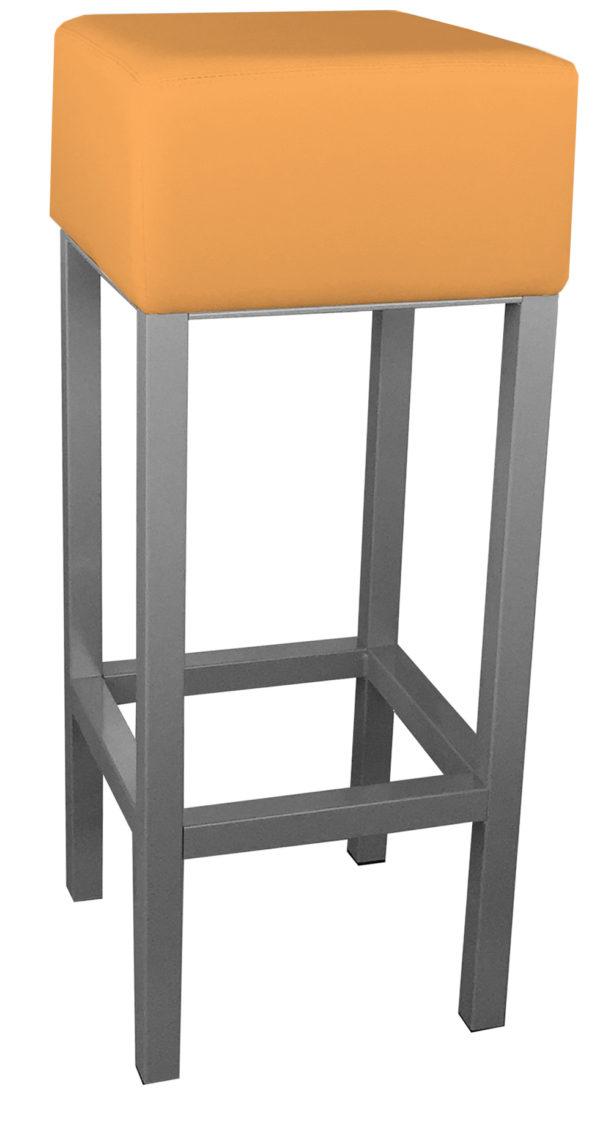 RVS barkruk met oranje zitting van kunstleer