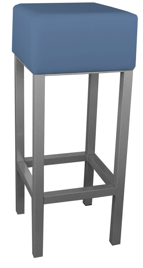 RVS barkruk met blauwe kunstlederen zitting