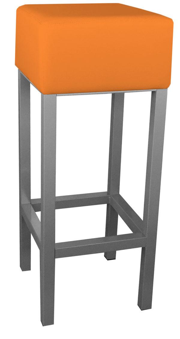 RVS barkruk met oranje kunstlederen zitting