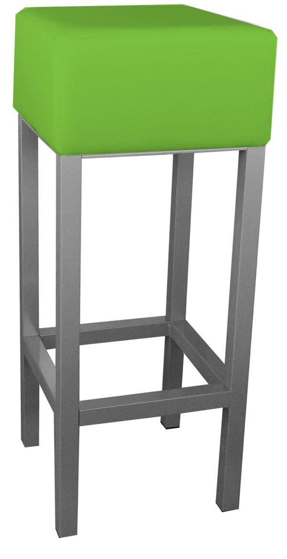 RVS barkruk met groene kunstlederen zitting